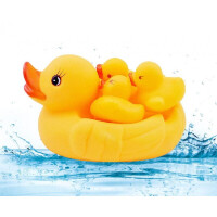 娃娃宝宝婴儿童大黄鸭捏捏叫鸭子游泳小黄鸭公仔套装戏水洗澡玩具