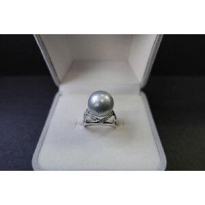 s925银镶钻大溪地黑珍珠戒指奶奶灰色 活口