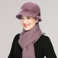 兔毛线帽女冬季老人帽子女冬天中老年人女士奶奶加厚保暖妈妈围巾