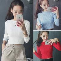 韩观冬季修身长袖T恤超短款紧身针织衫打底衫上衣高腰露脐内搭毛衣女 均码