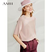 【到手价:126元】Amii极简洋气套头针织衫女2020春季新款中长款上衣宽松短袖T恤