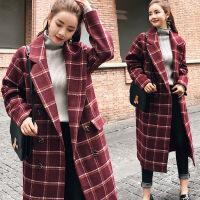 毛呢大衣女中长款韩版新款韩国格子呢子西装领大衣外套冬学生 XF30黄格