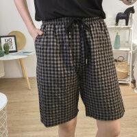 夏季复古抽绳松紧腰格子短裤五分裤女高腰显瘦中裤休闲裤