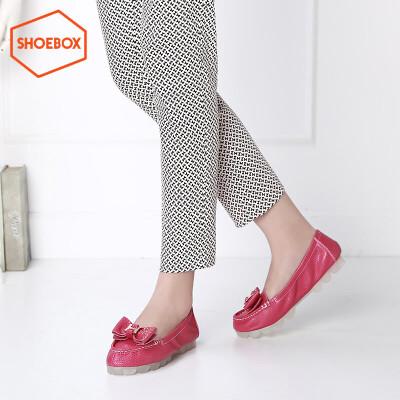 达芙妮旗下SHOEBOX/鞋柜圆头平跟套脚甜美淑女蝴蝶结柔软舒适单鞋