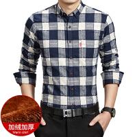 韩版冬季保暖衬衫中年男士加绒加厚长袖衬衣青年休闲修身格子上衣