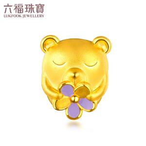 六福珠宝 zing花朵小熊珐琅 黄金串珠足金串珠手绳定价L01A1TBP0034