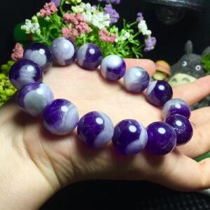 超美的梦幻紫水晶单圈.超级水润珠子16mm