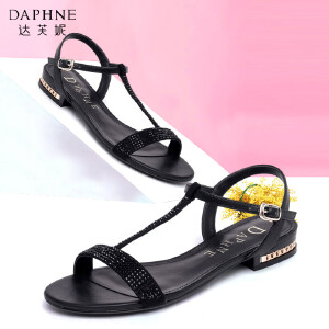 Daphne/达芙妮舒适百搭圆头一字扣低跟平底女凉鞋