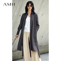 Amii[极简主义]绑带条纹连衣裙女2017冬装新款长袖宽松长款衬衫裙
