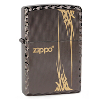 Zippo之宝2081黑冰金色兰草打火机黑冰雕刻凿边ZBT-1-11