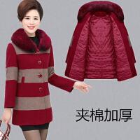 妈妈装秋冬毛呢外套中老年女装加厚带毛领羊绒呢子大衣大码中长款 枣红色 加棉 XL(建议95-110斤)