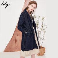 Lily2018春新款风衣女装时尚双排扣系带中长款牛仔风衣118130G1801