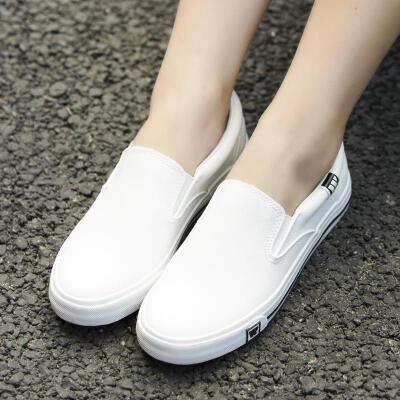 回力男鞋秋季韩版潮流小白鞋懒人一脚蹬休闲鞋子皮面学生乐福鞋男