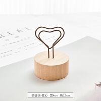 {夏季贱卖}韩国创意可爱木质铁艺名片夹桌面便签夹座摆件留言夹立式照片夹 便签夹-爱心