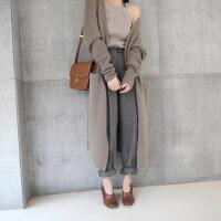 高端定制韩版山羊绒衫女V领超长款羊毛开衫加厚纯色毛衣外套