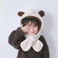 宝宝儿童帽子围巾一体护耳帽秋冬婴幼儿围脖婴儿小熊耳朵