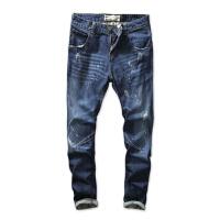 新款时尚韩版牛仔裤男直筒修身款春夏个性磨破做旧休闲复古长裤潮 牛仔蓝