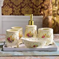 欧式陶瓷卫浴五件套浴室用品卫生间牙具套件刷牙杯漱口杯洗漱套装 白色密胺托盘+陶瓷五件套