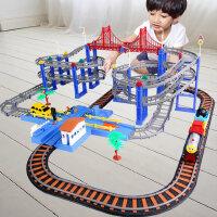 拖马斯小火车套装轨道电动汽车恐龙过山车男孩儿童玩具高铁和谐号