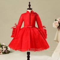 女童公主裙蓬蓬纱主持人演出服 花童礼服女红色秋季长袖儿童婚礼服 红色
