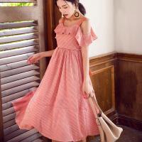夏装新款露背条纹雪纺连衣裙修身显瘦吊带长裙度假沙滩裙