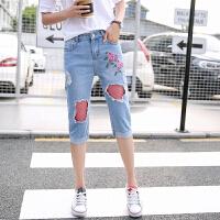 新款韩版渔网牛仔七分短裤女夏大码热裤