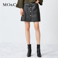 MOCO高腰短裙a字裙金属色半身裙女MA173SKT120 摩安珂