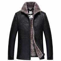 皮毛一体皮衣中年男士加绒加厚皮夹克商务休闲男冬装皮草外套 黑色 XL