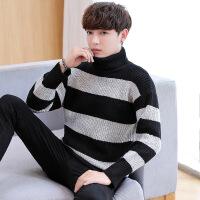 2018秋季新款韩版加厚男士宽松针织衫潮流个性青少年条纹羊绒衫