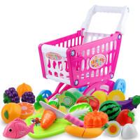 儿童过家家玩具套装大号超市购物车玩具手推车男孩女孩切水果玩具 大号购物车57件 红色 加大加厚56厘米