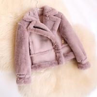 新款冬季童装男童皮衣儿童皮毛一体外套女童仿皮草加绒厚棉衣