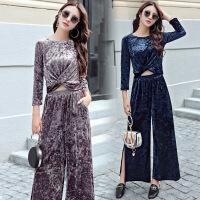 套装女春秋季新款时尚韩版长袖优雅衣服金丝绒显瘦舒适两件套