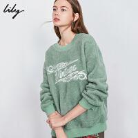 Lily2019冬新款年轻休闲字母绒感罗纹拼接灰绿圆领运动卫衣女8952