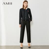 Amii极简百搭显高显瘦九分休闲裤2021春新款直筒萝卜裤子女西装裤