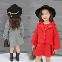 女宝宝冬装公主女童冬季套装时尚两件套裙女宝外套裙子加厚秋冬款