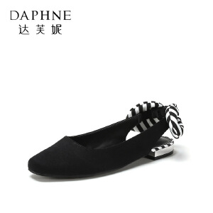 Daphne/达芙妮 鞋柜18春柠檬条纹花结图案金属鞋跟后空浅口时尚单鞋女