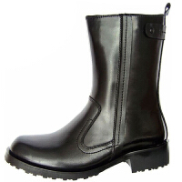 AOTU 男靴子马丁靴 中筒靴韩版 男靴 牛皮 潮流 中高帮保暖 牛皮冬加绒