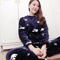 韩观法兰绒睡衣女秋冬加厚大码珊瑚绒长袖套装可爱卡通韩版休闲家居服