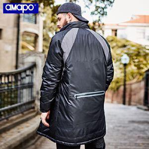 【限时抢购到手价:235元】AMAPO潮牌大码男装加肥加大码宽松胖子嘻哈中长款棉衣肥佬外套男士