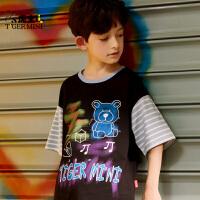 【2件3折:41.7元】小虎宝儿儿童短袖t恤夏季纯棉男童薄款潮牌宽松2021中大童