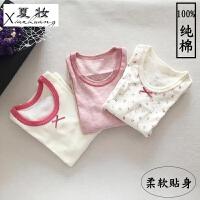 夏妆日系春季童装宝宝小孩纯棉长袖女童打底衫长袖T恤儿童上衣秋衣