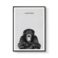 北欧客厅装饰画现代简约艺术摄影儿童房挂画玄关过道壁画黑白动物 70x100cm嵌框 单幅价格 黑色