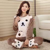 秋冬季女士睡衣长袖韩版法兰绒加厚大码可爱珊瑚绒保暖家居服套装