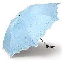 紫外线遮阳伞黑胶晒女太阳伞三折叠两用小清新晴雨伞