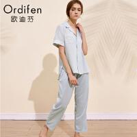 【超品价:839】欧迪芬女士家居服商场同款夏季女士情侣睡衣短袖两件套休闲家居服套装OH8116