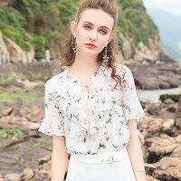 碎花雪纺衫短袖女2018夏季新款气质荷叶袖甜美显瘦印花打底衫上衣
