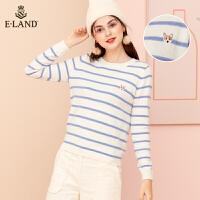 【到手价:323元】ELAND秋新款长袖横条纹宽松针织衫女套头衫EEKW98921I