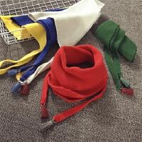 儿童围巾秋冬季保暖针织三角巾百搭加厚男女宝宝单色韩版毛线围脖