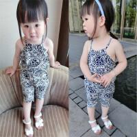 女童绵绸套装 夏装新款韩版儿童青花瓷印花吊带+中裤套