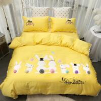 家纺简约全棉卡通公主风床上用品60长绒棉刺绣花黄色兔子纯棉四件套 黄色兔子